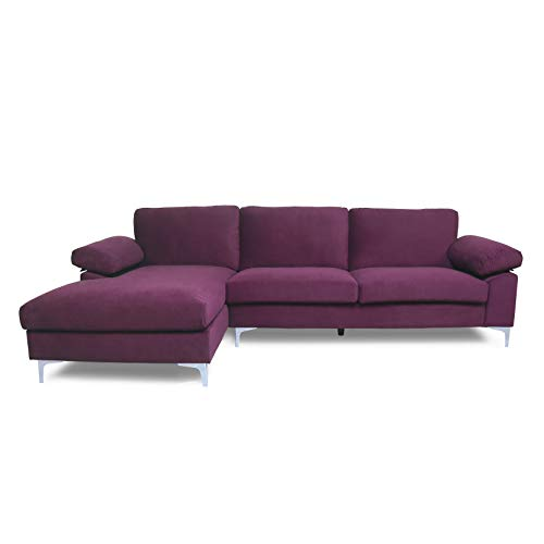 Purple Sectional Sofa with Lounger Chaise,JULYFOX Overstuffed 3 Seater Velvet Fabric Couch L-Shaped Sofa Extra Wide Armrest 42.5 inch Longer Lounger Chaise