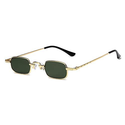 XUANTAO Gafas de Sol Retro de Moda para Hombres y Mujeres Tendencia Tinta Cuadrada pequeña Transparente Borde Estrecho Gafas de Sol de Hoja de océano Marco Dorado Hoja Verde Oscuro