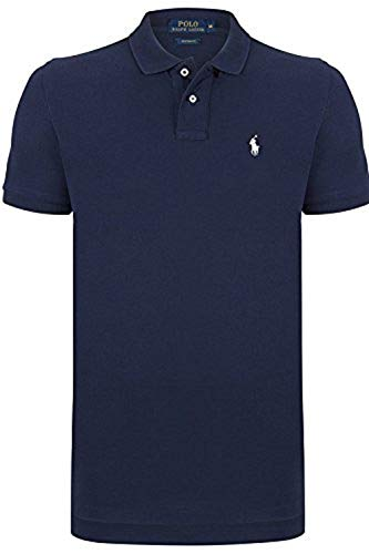 Ralph Lauren Herren Poloshirt Custom Fit *Small Pony Weiß* Size: L / Navy
