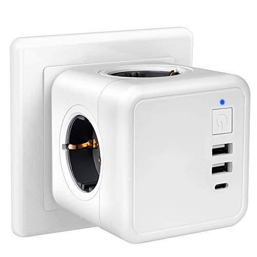 solawill USB Steckdose, 7 in 1 Steckdosenadapter Würfel mit Schalter, 4 Fach Steckdosen mit 3 USB Anschluss (3.1A), Schalter Steckdosenwürfel Kabellos, Tragbare Dreifachstecker für Büro,Zuhause,Reisen