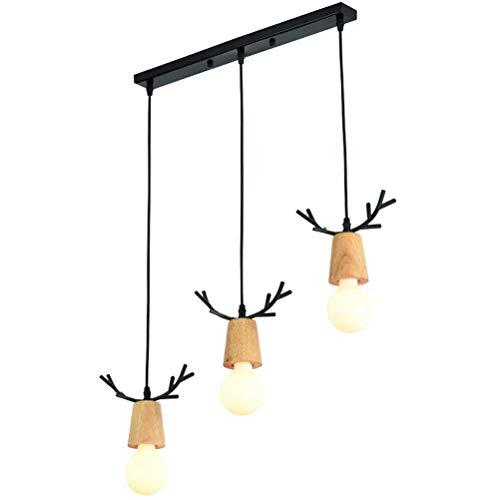 HLL Candelabro, Lámparas de comedor modernas Lámpara colgante de sala de estar creativa 3 luces Lámpara colgante de restaurante de metal de madera E27 Iluminación interior Candelabro Candelabro negro