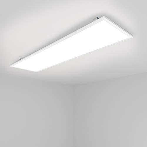 [Pro High Lumen]OUBO LED Panel Deckenleuchte 120x30cm Neutralweiß / 48W / 5000lm / 4000K / Weißrahmen Lampe dünn SLIM Ultraslim Deckenleuchte Wandleuchte Einbauleuchten, inkl. Trafo und Anbauwinkel