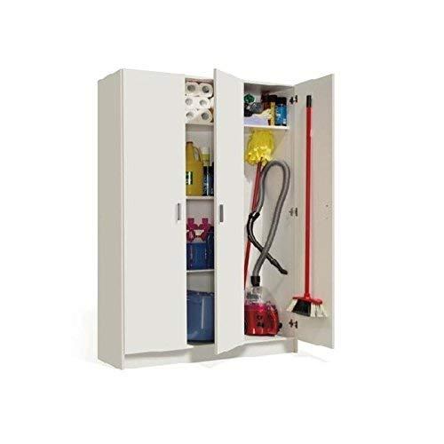 Habitdesign Armario Multiusos, 3 Puertas, Acabado en Color Blanco, Medidas: 109 cm (Ancho) x 180 cm (Alto) x 37 cm (Fondo)