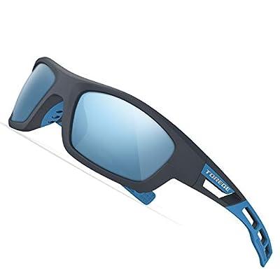 TOREGE Polarized Sports Sunglasses for Man Women Cycling Running Fishing Golf TR90 Unbreakable Frame TR07 Steath Man (Matte Grey&Blue&Blue)