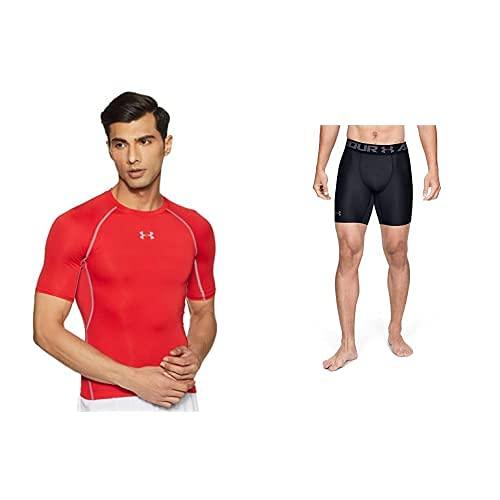 Under Armour UA Heatgear Short Sleeve Camiseta, Hombre, Rojo (Red/Steel (600), M + Heatgear Armour 2.0 Comp Shorts, Pantalón Corto Hombre, Negro (Black/Graphite 001), M