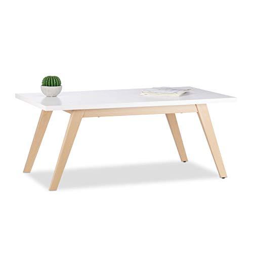 Relaxdays Table Basse Métal, Rectangulaire, 4 Pieds Optique, Bois Lumineux, HLP: 44,5x110x60 cm, Blanc, Weiß, 5 x 110 x 60 cm