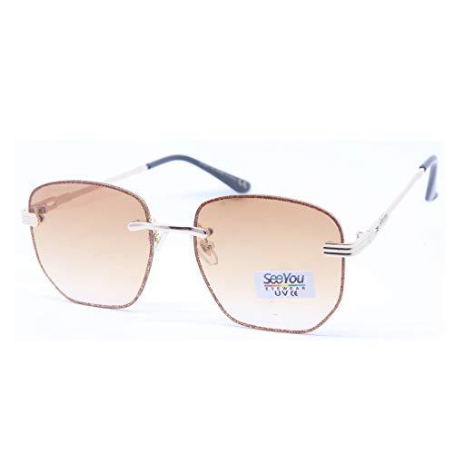 Seeyou - Gafas de sol redondas ovaladas con purpurina para mujeres y hombres