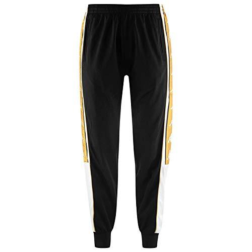 Kappa - Pantalones deportivos retro para hombre Negro y dorado. 27-32