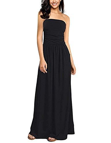 abito donna nero lungo GHYUGR Vestiti Donna Estivi Lungo con Tasca Vestito a Tubino da Spiaggia Abiti da Cerimonia Eleganti Sera Lunghi