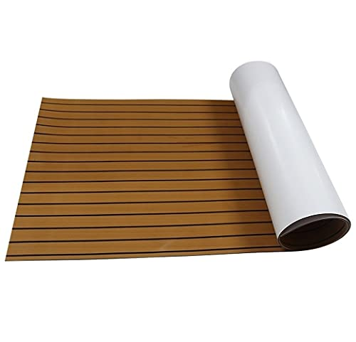 Foammaker Non-Slip Boat Flooring Decking Pad (35in x 94in x 0.24in), 6mm Thickness EVA Foam Faux Teak Marine Mat – Brown with Black Seam Lines