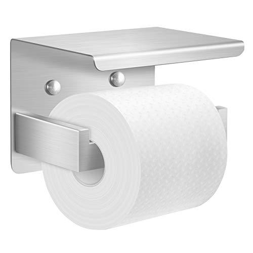 EKKONG Toilettenpapierhalter ohne Bohren mit Ablage ,Klopapierhalter Selbstklebend Papierhalter Edelstahl Klopapierhalter WC Papier Halterung Wandmontage für Küche und Badzimmer (Groß Primärfarbe)
