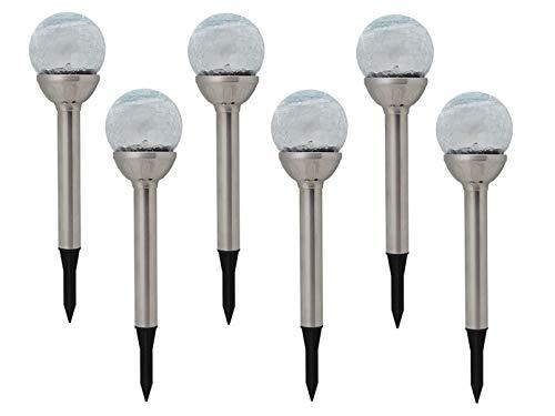 6er Set LED Solarleuchte Kugel mit Erdspieß, Edelstahl, Dämmerungssensor, Höhe 34 cm