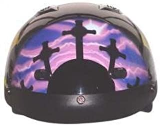 DOT Vented Pink/Purple Cross Christian Motorcycle Half Helmet (Size L, LG, Large)