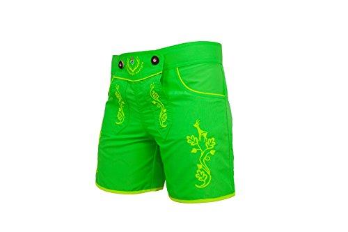 Monaco di Bavaria Originell aus Bayern DAMEN Shorts Classic, Lederbadehose, Trachtenbadehose, Badelederhose, (neongrün, L)