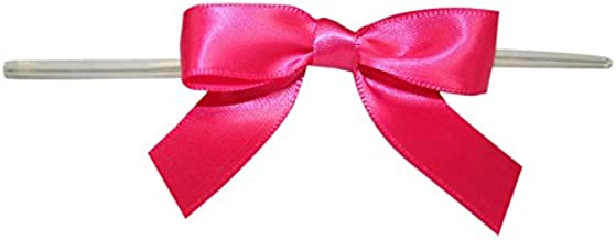 Reliant Ribbon Satin Twist Tie Small Bows, 5/8 Inch X 100 Pieces, Shocking Pink