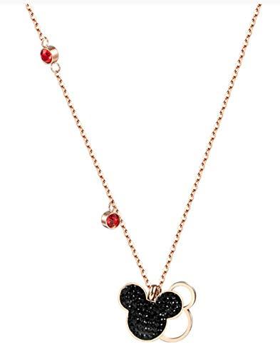 ookmngft Damen Halskette Mickey Minnie Mouse Anhänger Halskette Titan Stahlkette Intarsien Kristall Mode Frauen Schmuck Mickey Rose Gold