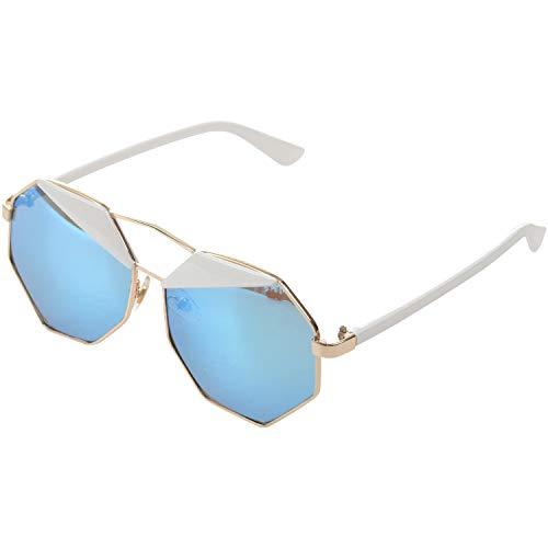 Senmubery Spiegel Design Achteck Sonnenbrille (blau)