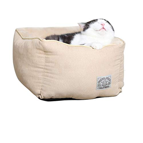 JYTBD YUN TAO Square Cat Room Four Seasons Universal Cat Nest Semi-ingesloten Kattenhuis Uitneembare Wassen Slaapzak Tent, Grijs Geel Huisdier nest (kleur : Grijs