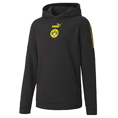 PUMA Uni Pullover BVB FtblCulture Hoody Jr, Puma Black-Cyber Yellow, 164, 758491