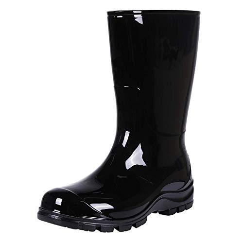 Women's Mid-Calf Rain Boots Short Waterproof Garden Shoes Black 38
