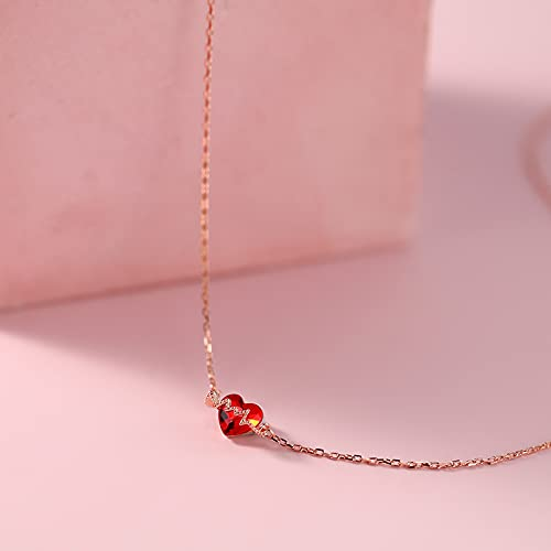 N\C Colgantes para Mujer - Collares De Mujer - Collar De Plata 925 Collar De Corazón De Amor Diseño De Minoría Femenina La Joyería Colgante En Forma De Corazón Niñas En El