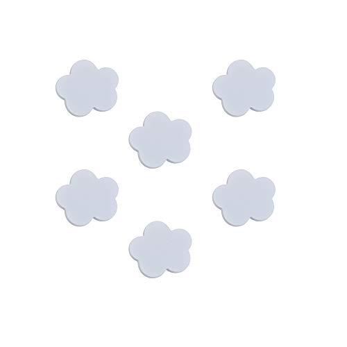 6 unidades tirador pomo mueble bebé nube madera lacada blanco 68x58mm