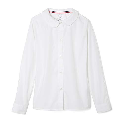 French Toast Big Girls' Long Sleeve Peter Pan Collar Blouse, White, 7