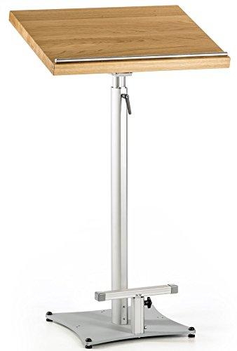 Stehpult Slide XL stufenlos höhenverstellbar von 100 bis 170 cm neigbare Arbeitsplatte 65 x 50 cm aus EICHE-Massivholz