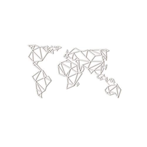 Hoagard Metal World Map White XL Metal Weltkarte Weiß- Geometrisches Metall Wandkunst, Wanddeko, Wandskulptur Kunst Wandbehang Deko 80cm x 140cm (White)
