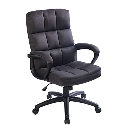 ZIHUAD Sedia da Ufficio per Computer con Tessuto di Armi Sedia da scrivania esecutiva per la casa e Ufficio Super Soft Back Support 360 Sedia da compito Girevole con Ruote Black