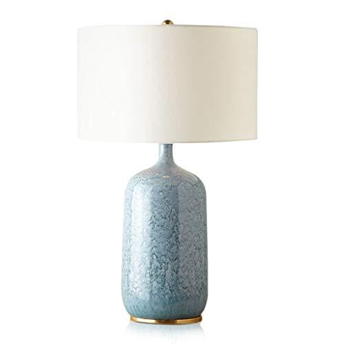 Lámpara de Mesa American Country Retro Creativo Azul Lámpara de Mesa de Cerámica Simple Mesita de Tela Decoración de Arte Lámpara de Escritorio Ahorrar energía