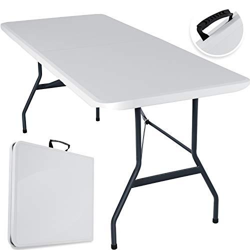 KESSER® Buffettisch Tisch klappbar Kunststoff 240x70 cm Campingtisch Partytisch Klapptisch Gartentisch für Garten, Terrasse und Balkon zusammenklappbar 8 Personen inkl. Tragegriff, Weiß