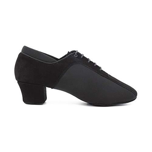 PortDance Zapatos de baile PD015 para hombre – Nubuck/neopreno negro – 4,5 cm latein – Fabricado en Portugal, color Negro, talla 41 EU
