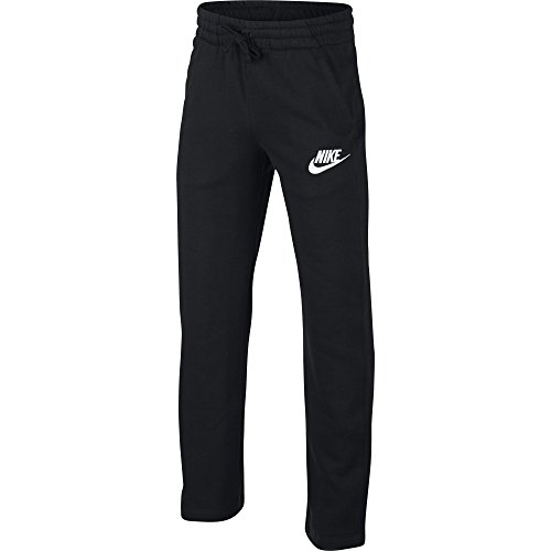 NIKE Sportswear Boys' Club Fleece Open Hem Pants, Black/White, Small