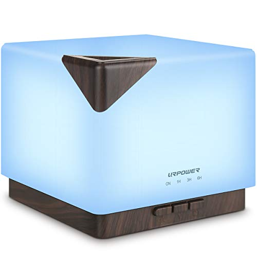 URPOWER 700ml Aromatherapy Essential Oil Diffuser Humidifier Large Capacity Modern Ultrasonic Aroma Diffusers Running 20+ Hours 7 Color Changing for Home Baby Bedroom Office Study Yoga Spa
