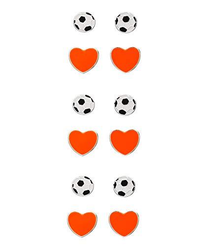 SIX Juego de 3 pendientes de tuerca de los Países Bajos, 12 piezas, diseño de fútbol, accesorio para el campeonato de Europa, elfo nacional, EM (679-369)