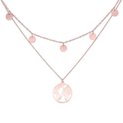 a little something ® Halskette Noord | Damen Layer Kette mit 18 Karat Vergoldung in Roségold | Inklusive nachhaltiger Geschenkverpackung (FSC®-Zertifikat)
