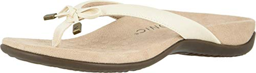Vionic Women's Rest Bella II Toepost Sandal - Ladies Flip Flop with Concealed Orthotic Arch Support Cream Woven 7.5 Medium US