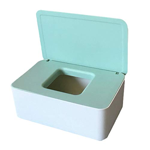 Caja de pañuelos húmedos, caja de almacenamiento, estuche para toallitas, caja de plástico para pañuelos (verde + blanco)