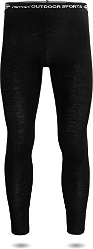 normani Herren Merino Unterhose Thermounterwäsche Funktionshose Lang Baselayer Leggins Ski-Winterhose - 100% Merinowolle 200 g/m² Farbe Schwarz Größe L/52
