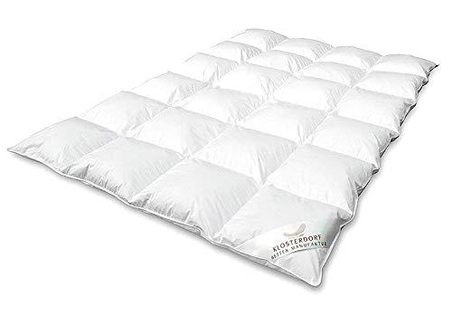 Klosterdorf Bettenmanufaktur Premium Winterdecke \'\'Typ Eiderdaune\'\' | 135x200 cm | 880 Gramm | EXTRA WARM | Handarbeit aus Deutschland | Daunendecke | Für einen gesunden Schlaf