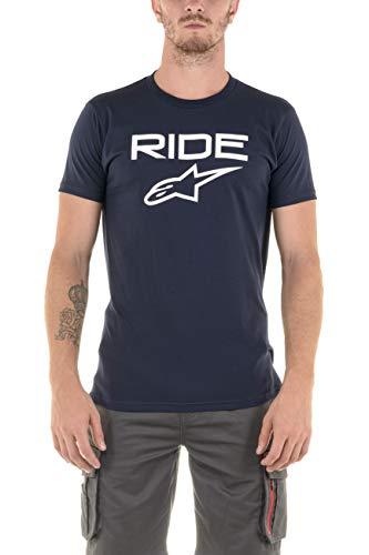 Alpinestars Ride 2.0 T-Shirt Homme, Bleu Marine/Blanc, Grand