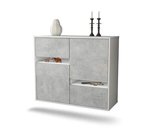 Dekati dressoir Irvine hangend (92x77x35cm) romp wit mat | front beton look | Push-to-Open