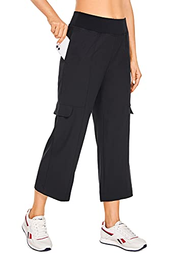 CRZ YOGA Women's Lightweight Loose Wide Leg Capri Joggers Pants with Cargo Pockets Elastic Waist Athletic Lounge Travel Pants Black Medium