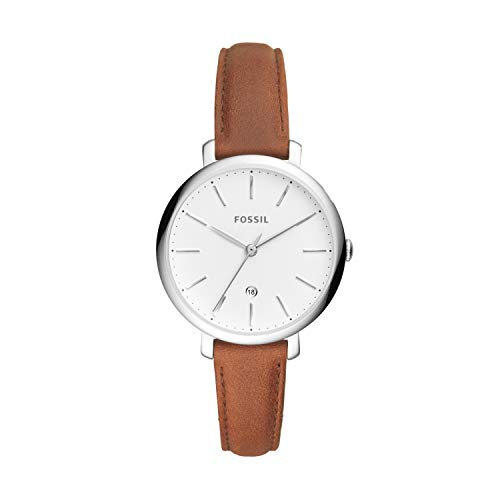 Fossil Women's Jacqueline Quartz Leather Three-Hand Watch, Color: Silver, Brown (Model: ES4368)