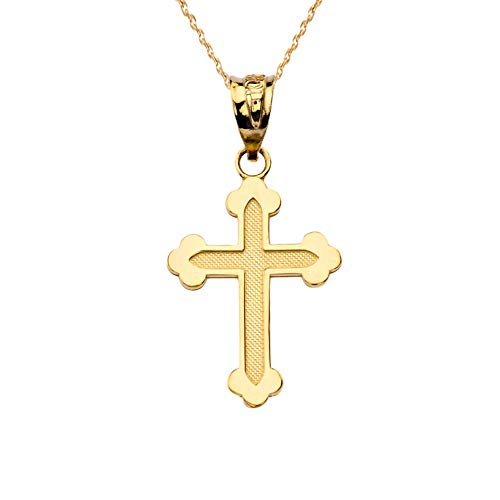 Little Treasures Dainty Greek Orthodox Cross in 9 ct Yellow Gold Pendant Necklace (Comes an 18' Chain)