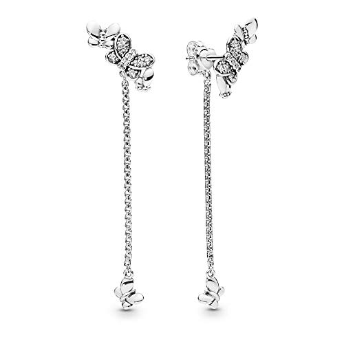 PANDORA Bedazzling Butterflies 925 Sterling Silver Dangles Earrings - 297964CZ
