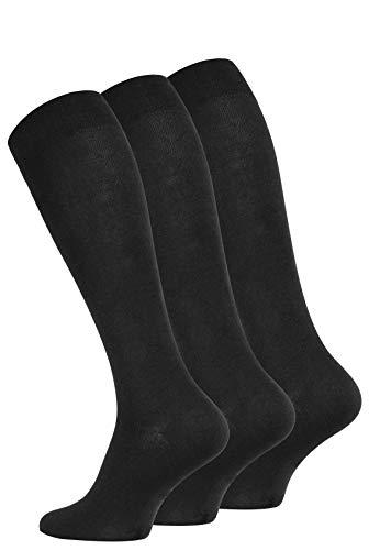 VCA 6 Paar schwarze Herren Kniestrümpfe, Zeitlos eleganter Business Strumpf aus feinster Baumwolle. Gr. 43-46