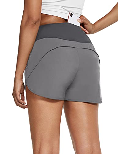 BALEAF Women's Running Athletic Shorts with Zipper Pockets Lightweight Workout Quick-Dry with Liner 2.5 Inch Grey M