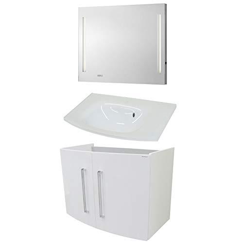 FACKELMANN Badmeubelset Lugano 3-delig 80 cm wit met wastafel onderkast & glazen bekken & spiegelelement